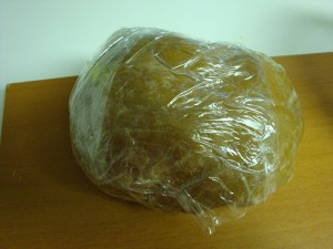 Cookie Dough wrapped in a plastic foil